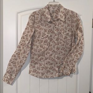 Old Navy floral stripe button down top, size large